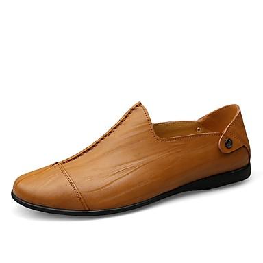 Herrn Schuhe Leder Sommer / Herbst Komfort Loafers & Slip-Ons Walking Schwarz / Dunkel Braun / Hellbraun