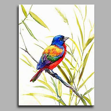 Hang festett olajfestmény Kézzel festett - Állatok Művészi / Rusztikus Vászon / Nyújtott vászon