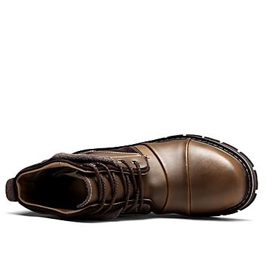 Homme Bottes de Combat Cuir Noir Automne / Hiver Bottes Bottes Mi-mollet Noir Cuir / Marron 443836