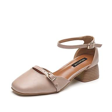 Damen Schuhe PU Sommer Komfort High Heels Walking Block Ferse Runde Zehe für Schwarz / Beige / Braun