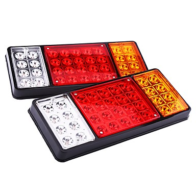 ZIQIAO 1 Pair 12V 36 LED Car Truck Tail Light Warning Lights Rear Lamps Waterproof Tailights Rear Parts for Trailer Truck