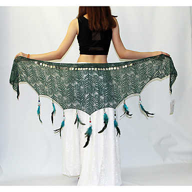 Belly Dance Hip Scarves Women's Performance Polyester Metal Feather Faux Pearl Hip Scarf