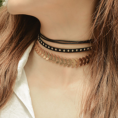 Női Rövid nyakláncok  -  Gótikus Geometric Shape Arany Ezüst Nyakláncok Kompatibilitás Esküvő Parti Születésnap