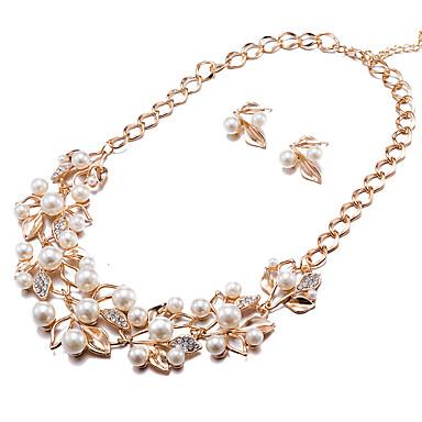 Damen Ohrstecker Halskette Imitierte Perlen Strass Modisch Party Alltag Normal Künstliche Perle Aleación Blume