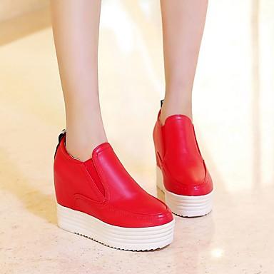 Damen Schuhe PU Frühling Komfort Flache Schuhe Creepers Runde Zehe Für Normal Weiß Schwarz Rot