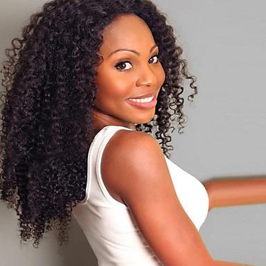 Szintetikus parókák Göndör Sűrűség Sapka nélküli Női Fekete Természetes paróka Közepes Szintetikus haj