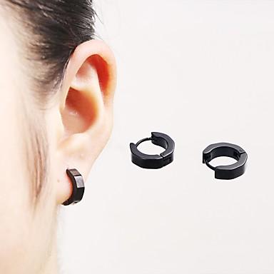 Men's Women's Stud Earrings Hoop Earrings - Stainless Steel Personalized, Punk, Simple Style Black / Silver / Light Green For Casual Street Club