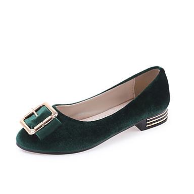 Damen Schuhe PU Frühling Sommer Komfort Loafers & Slip-Ons Flacher Absatz Runde Zehe für Normal Kleid Schwarz Grün Hellbraun