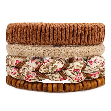 Men's, Women's Strand Bracelet, Wrap Bracelet - Flower Brown / Bohemian