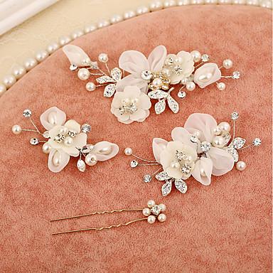 Tüll / Gyöngyutánzat / Strassz Virágok / Hair Clip / Hair Stick val vel 1 Esküvő / Különleges alkalom / Születésnap Sisak