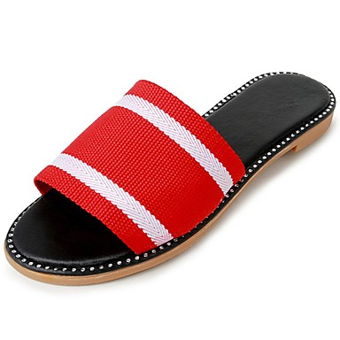 Women's Shoes Fabric Summer Comfort Slippers & Flip-Flops Flat Heel Round Toe Split Joint Black / Red