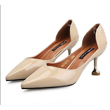 Damen Schuhe Lackleder Sommer Herbst Komfort High Heels Für Normal Schwarz Mandelfarben