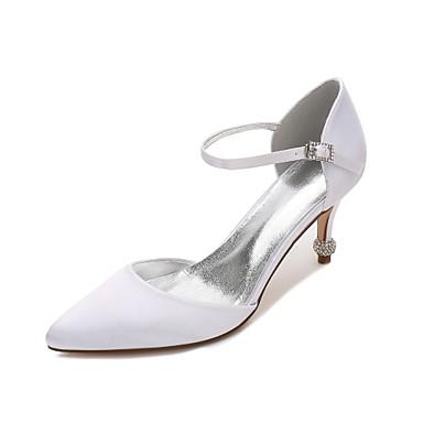 Női Cipő Szatén Tavasz / Nyár D'Orsay és kétrészes / Kényelmes Esküvői cipők Cicasarok / Magas / Alacsony Erősített lábujj Lyukacsos mert