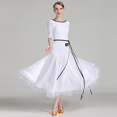 Ballroom Dance Women's Performance Senior Emulation Silk / Tulle / Ice Silk Stitching Lace Half Sleeve Natural Dress / Belt