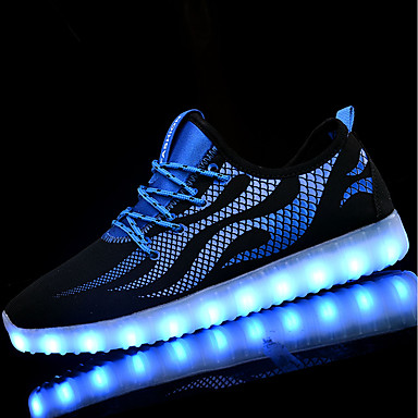 للرجال أحذية تضيء PU ربيع / خريف أحذية رياضية المشي أسود وأبيض