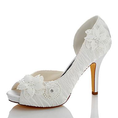 Mujer Zapatos Encaje / Satén Otoño / Invierno Confort Tacones Dedo redondo Apliques Marfil / Boda / Fiesta y Noche zQn2c9DW