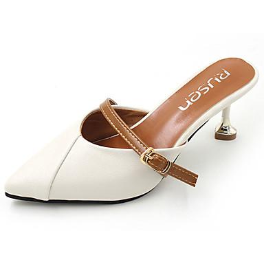 Damen Sandalen Komfort Sommer PU Normal Schnalle Stöckelabsatz Weiß Rosa 2,5 - 4,5 cm