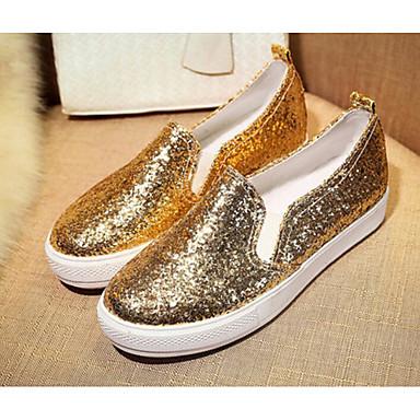 Damen Schuhe PU Sommer Komfort Flache Schuhe Für Normal Gold Schwarz Silber