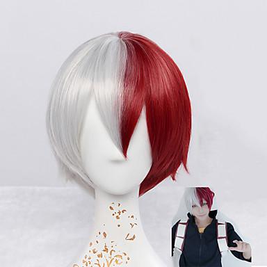 Недорогие Парик из искусственных волос без шапочки-Парики из искусственных волос Прямой / Естественные волны Стиль Без шапочки-основы Парик Красный Красный Искусственные волосы Красный Парик Короткие Парики для косплей
