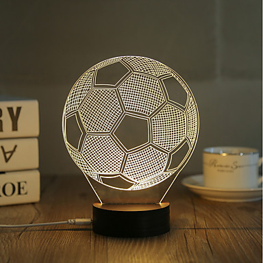 1 Set, Popular Home Acrylic 3D Night Light LED Table Lamp USB Mood Lamp Gifts, football