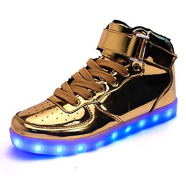 Herrn Schuhe Kunstleder Winter Herbst Leuchtende LED-Schuhe Komfort Sneakers Walking LED Klett für Sportlich Normal Draussen Gold Weiß