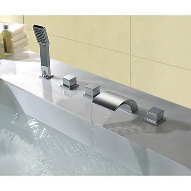 Kád csaptelep - Kortárs Króm Elterjedt Réz szelep Bath Shower Mixer Taps / Bronz / Három fogantyúk öt lyuk