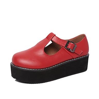 Női Cipő PU Ősz Kényelmes Félcipők Lapos Kerek orrú Fekete / Piros