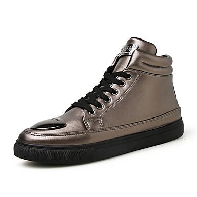 Herrn Schuhe Leder Winter Herbst Komfort Sneakers Walking Metall Zehen für Normal Draussen Gold Weiß Schwarz