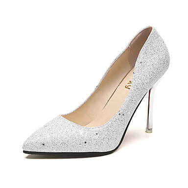 Damen Schuhe PU Sommer Komfort High Heels für Draussen Schwarz Silber Champagner