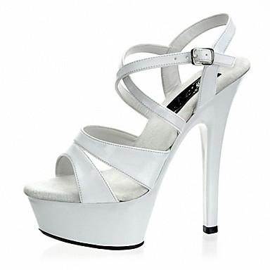 Women's Shoes PU(Polyurethane) Summer Formal Shoes Sandals Stiletto Heel Peep Toe Satin Flower / Buckle White / Black / Party & Evening