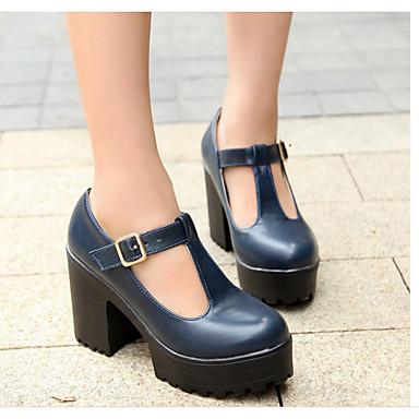 Damen Schuhe PU Sommer Komfort Pumps High Heels Blockabsatz Runde Zehe Für Normal Schwarz Rot Blau