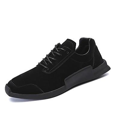 Férfi cipő Fordított bőr Tél Ősz Kényelmes Sportcipők Gyalogló Fűző mert Sport Hétköznapi Szabadtéri Fekete Szürke Khakizöld