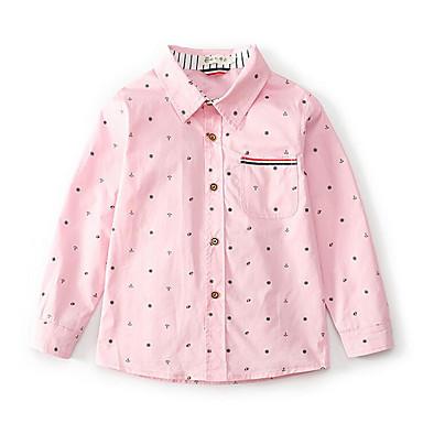 baratos Camisas para Meninos-Infantil Para Meninos Pontos Poá Manga Longa Algodão Camisa Rosa
