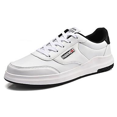 Férfi cipő PU Tavasz Ősz Kényelmes Tornacipők Fűző mert Hétköznapi Fehér Fekete Fekete/fehér