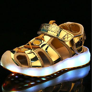 Girls' Shoes PU Summer Comfort Sandals Hook & Loop / LED for Silver / Blue / Pink
