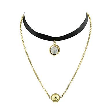 Női Rövid nyakláncok  -  Alap Divat minimalista stílusú Circle Shape Fehér Fekete Nyakláncok Kompatibilitás fokozatokra osztás Napi