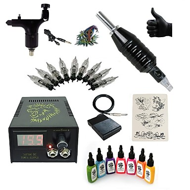 BaseKey Tätowiermaschine Beginner Set - 1 pcs Tattoo-Maschinen mit 7 x 15 ml Tätowierfarben LCD-Stromversorgung Case Not Included 1 x