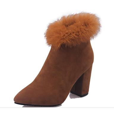 Damen Schuhe Echtes Leder PU Winter Komfort Pumps Modische Stiefel Stiefel Für Normal Schwarz Grau Gelb