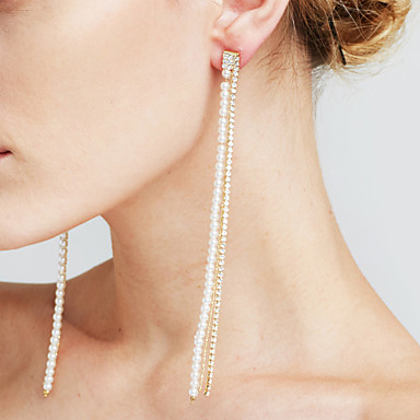 Mulheres Brincos Compridos Diamante sintético Imitação de Pérola Personalizada Sensual Jóias filme Euramerican Fashion Cobre Formato de