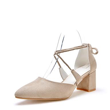Damen Schuhe PU Sommer Pumps Sandalen Blockabsatz Spitze Zehe Schnürsenkel Für Hochzeit Kleid Party & Festivität Schwarz Rosa Mandelfarben