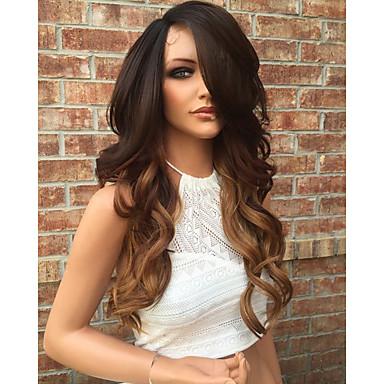 Emberi haj Csipke eleje Paróka Brazil haj Hullámos Réteges frizura 130% Sűrűség Baba hajjal glueless Természetes hajszálvonal Ombre haj