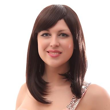 Synthetische Perücken Faux Locs Perücke Braun Damen Kappenlos Natürliche Perücke Medium Synthetische Haare