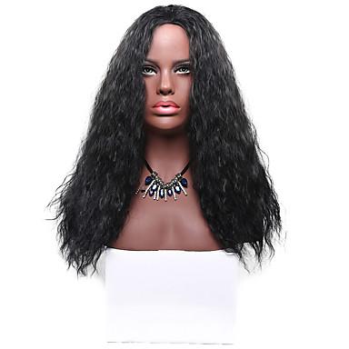 Synthetische Haare Perücken Große Wellen Kappenlos Natürliche Perücke Lang Schwarz