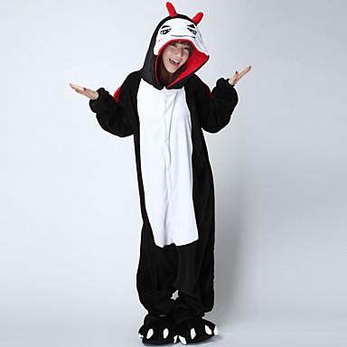 Kigurumi pizsama Ördög Onesie pizsama Jelmez Bolyhos pamutszövet Fekete/Fehér Cosplay mert Allati Hálóruházat Rajzfilm Halloween