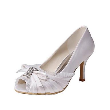 Női Cipő Streccs szatén Nyár Magasított talpú Esküvői cipők Tűsarok Köröm Csokor mert Esküvő / Party és Estélyi Kristály