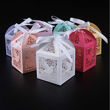 billige Gaveesker-Kube Perle-papir Gaveholder med Bånd Favoritt Esker - 50