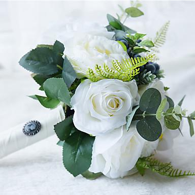 Esküvői virágok Csokrok Esküvő Gyöngy Csipke Selyem Organza Szatén Kb. 30 cm