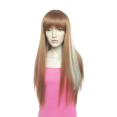 Synthetische Perücken Glatt Yaki Braun Damen Kappenlos Natürliche Perücke Sehr lang Synthetische Haare