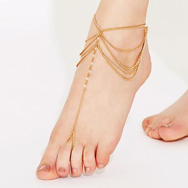 Κρυστάλλινο Κρύσταλλο Βραχιόλι αστραγάλου Σανδάλια για γυμνό πόδι - Γυναικεία Λευκό Χρυσαφί Βραχιόλι αστραγάλου Για Πάρτι Παραλία