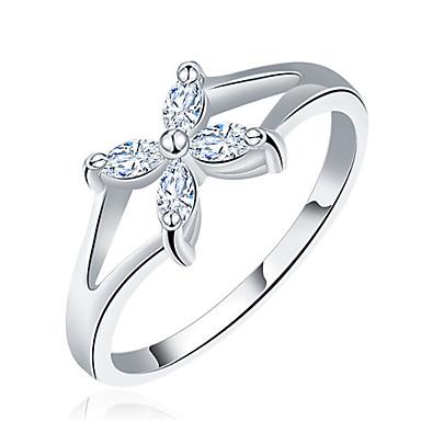 Damen Ringformen Ring Bandringe Kubikzirkonia Personalisiert Blumig Luxus Einzigartiges Design Grundlegend Freundschaft Schmuck mit